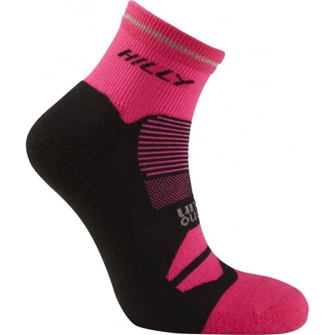 Hilly Photon Anklet Running Socks Black/Fluo Pink Womens