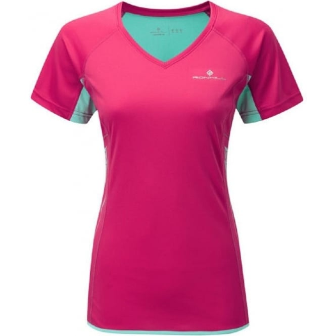 Aspiration Short Sleeve Tee Cerise/Aquamarine Womens