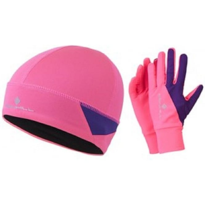 Ronhill Vizion Beanie and Glove Set AW15 Pink/Wildberry