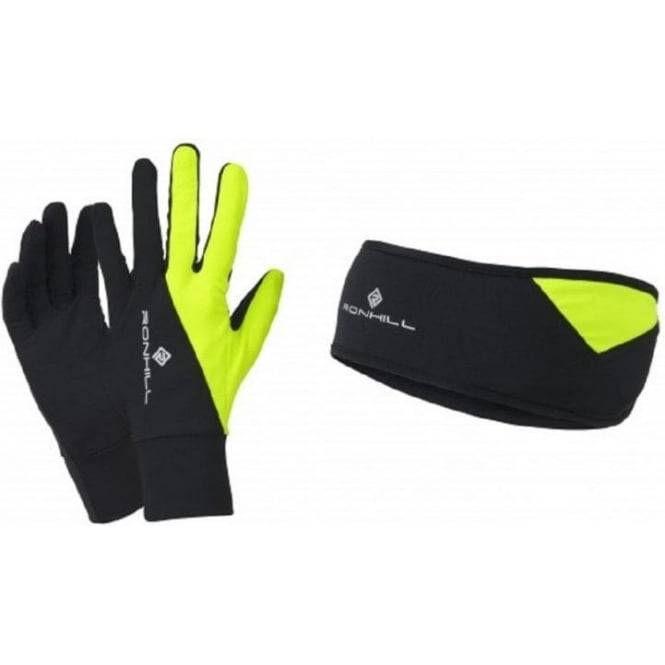 Ronhill Headband and Glove Set AW15 Black/Yellow