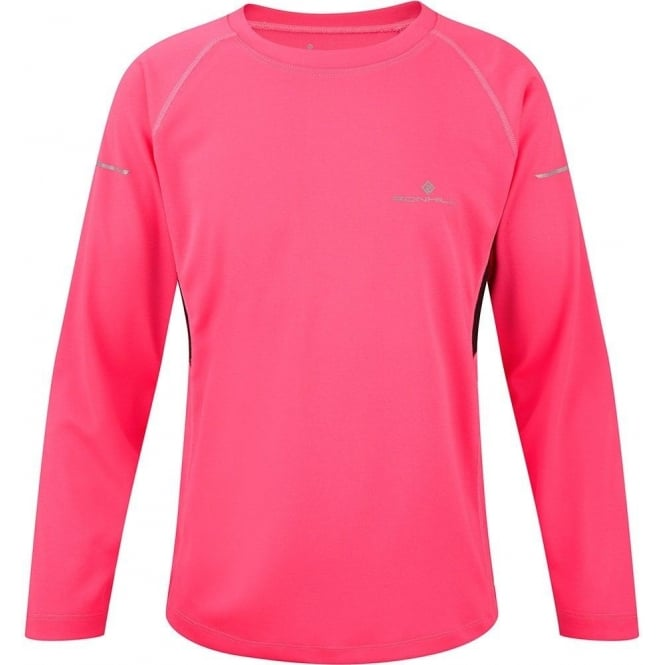 Ronhill Junior Pursuit Long Sleeve Tee Fluo Pink/Black