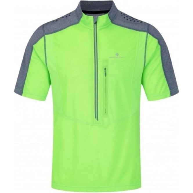 Ronhill Trail Short Sleeve Zip Tee Fluo Green/Granite Mens