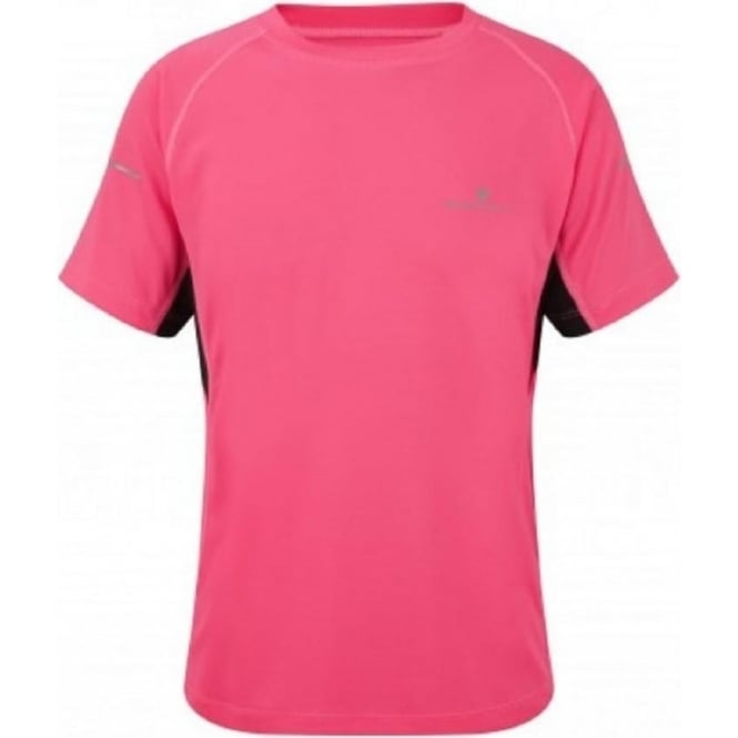 Ronhill Junior Pursuit Short Sleeve Tee Fluo Pink/Black