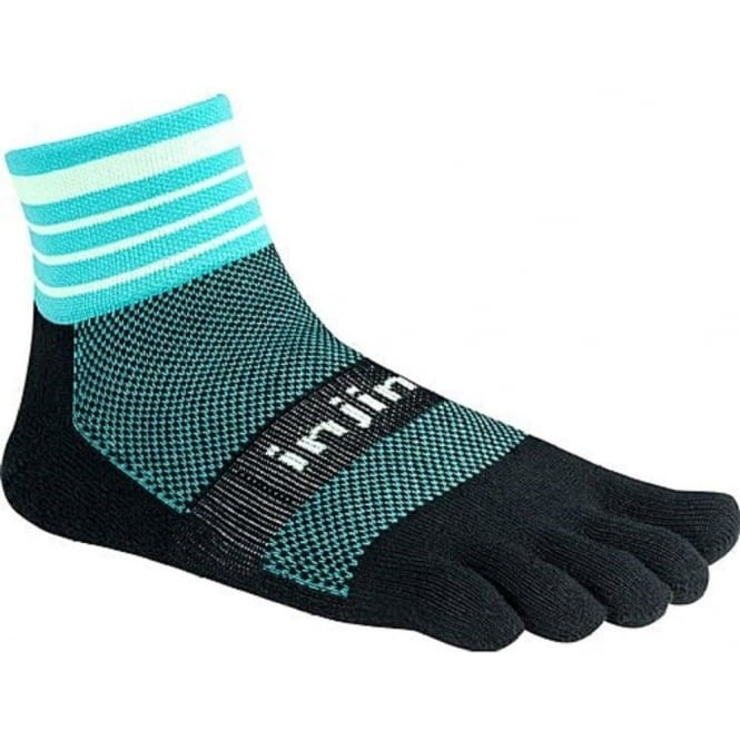 Trail Midweight Mini Crew Dark Mint Running Toe Socks