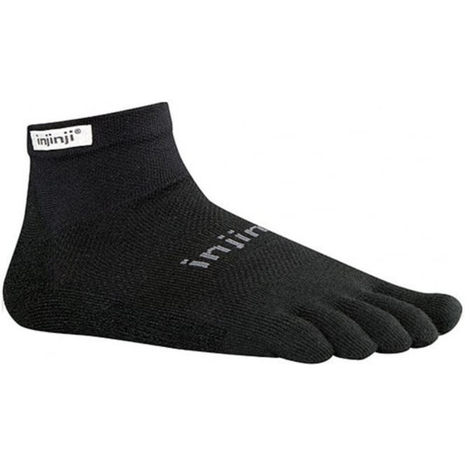 Run Original Weight Mini Crew Black Running Toe Socks