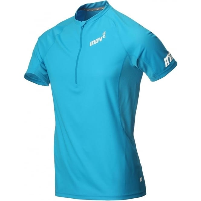 Inov8 AT/C Base Short Sleeve Zip Tee Blue Mens