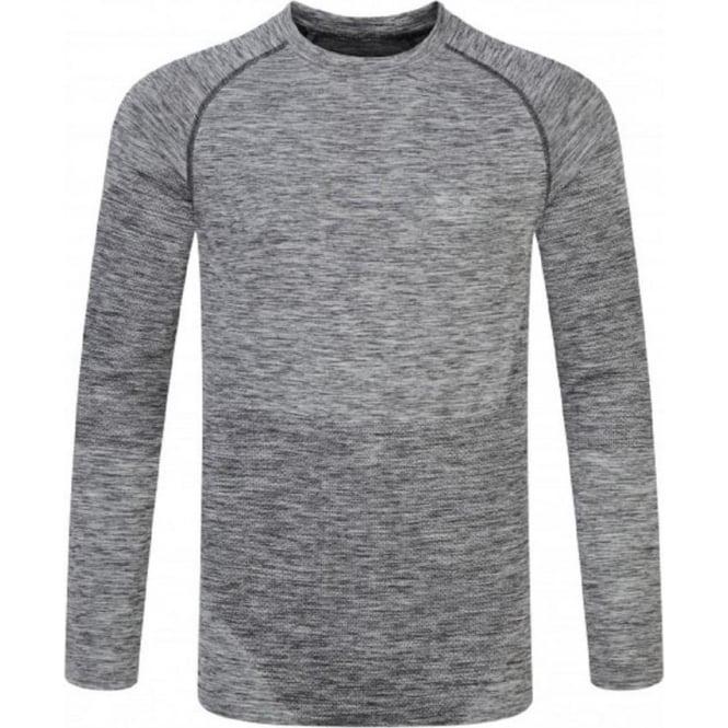 Ronhill Space Dye Long Sleeve Tee Grey Marl Mens