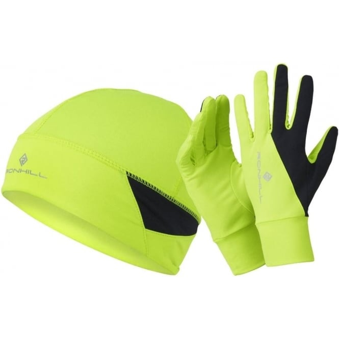 Ronhill Vizion Beanie and Glove Set AW15 Yellow/Black