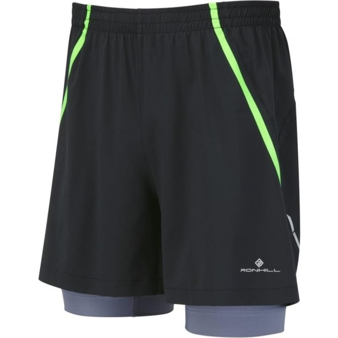 Trail Fuel Twin Short Black/Fluo Green Mens