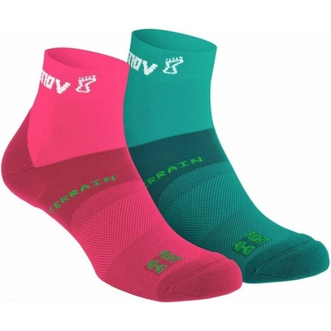 All Terrain Sock Mid Twin Pack Teal/Pink