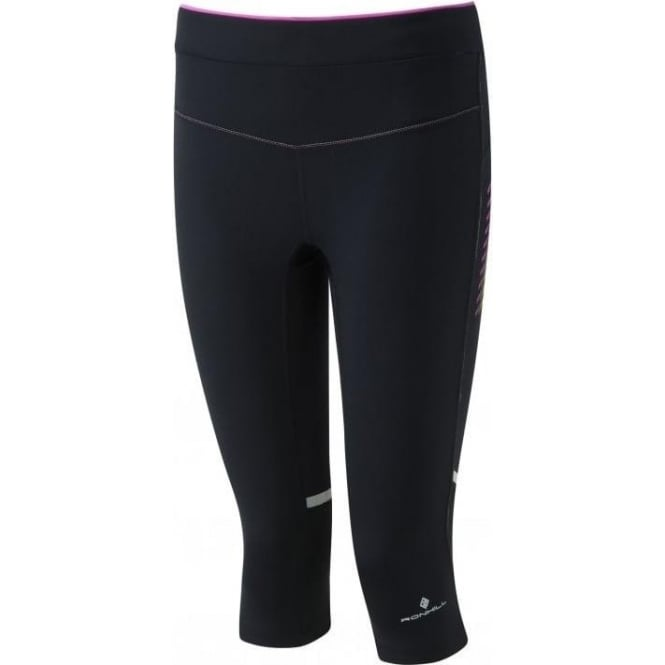 Ronhill Womens Stride Stretch Capri Black/Thistle