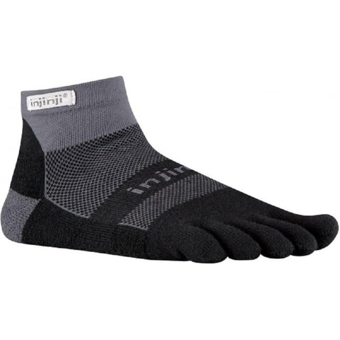 Run Midweight Mini Crew Running Socks Black/Grey Running Toe Socks