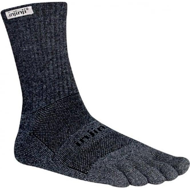 Injinji Socks Trail Midweight Crew Granite Running Toe Socks