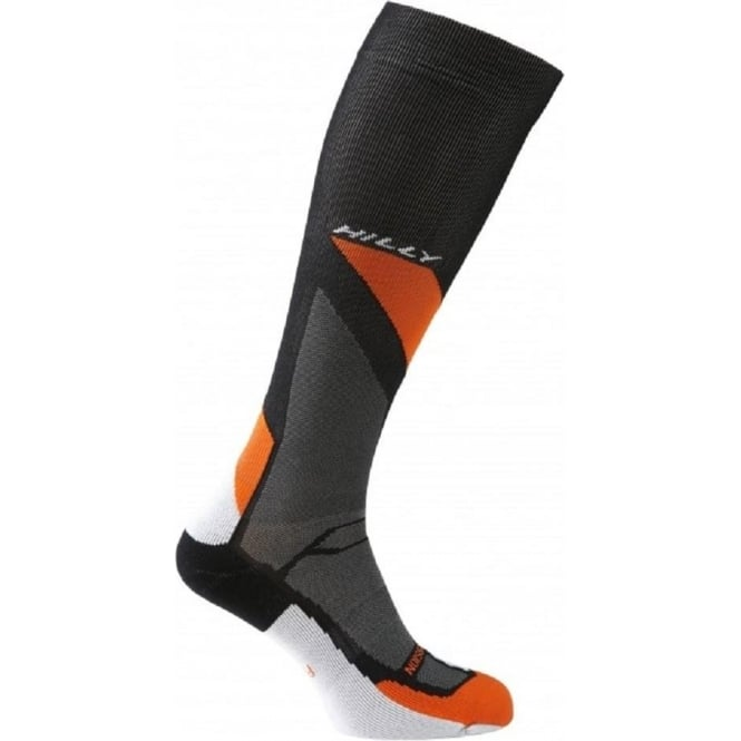 Hilly Marathon Fresh Compression Sock Black/Orange/Grey