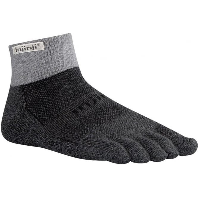 Injinji Socks Trail Midweight Mini Crew Granite Running Toe Socks