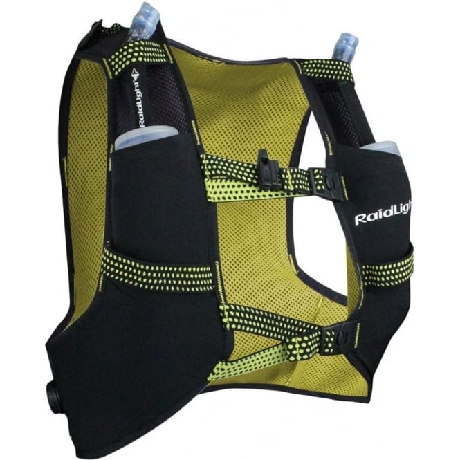 Raidlight Running Vest 3L Black/Yellow (2x 350ml Flasks Included)