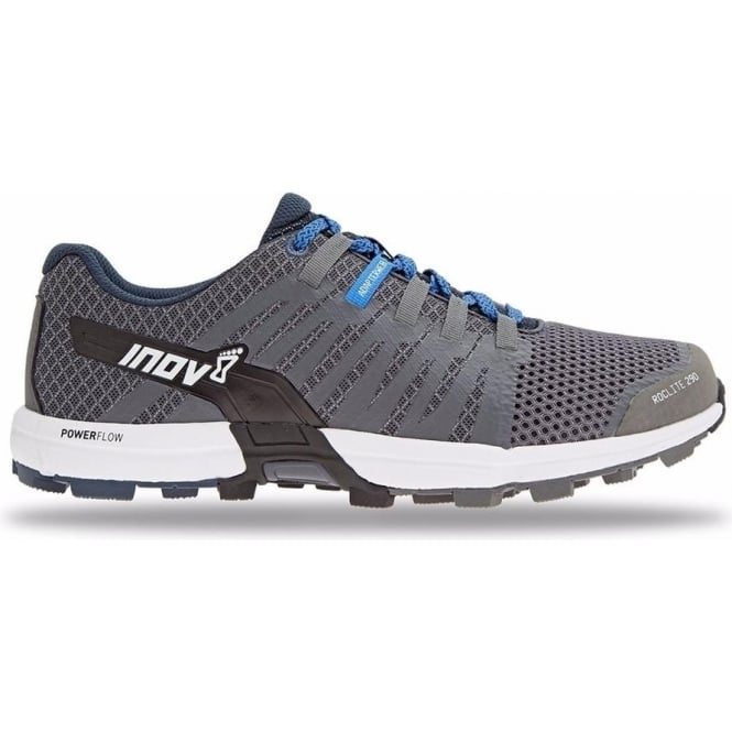 Inov8 Roclite 290 Mens STANDARD FIT Trail Running Shoes Grey/White/Blue