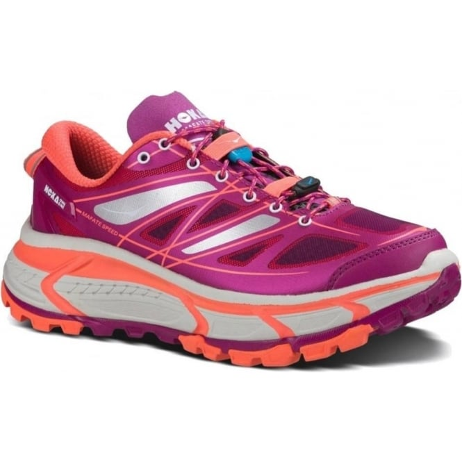 Hoka Mafate Speed Trail Running Shoes Wild Aster/Neon Coral Womens