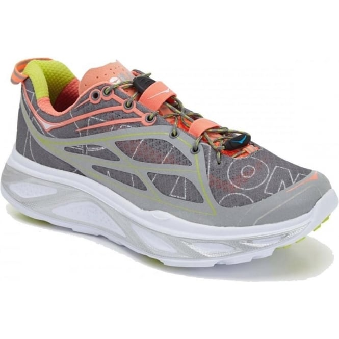 Huaka Womens Running Shoes Grey/Neon Coral