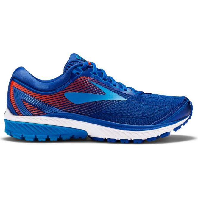 Ghost 10 Mens D (STANDARD WIDTH) Road Running Shoes Mazarine Blue/Methyl Blue/Cherry Tomato