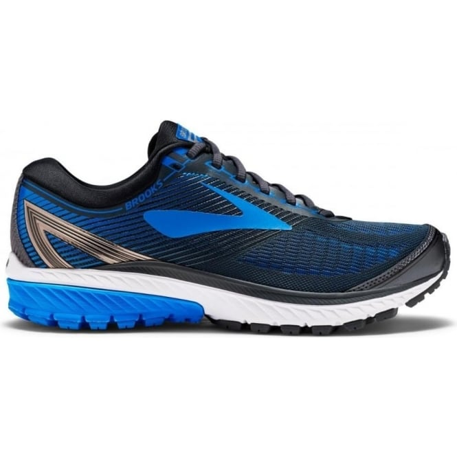 Ghost 10 Mens 2E (WIDE WIDTH) Road Running Shoes Ebony/Metallic Charcoal/Electric