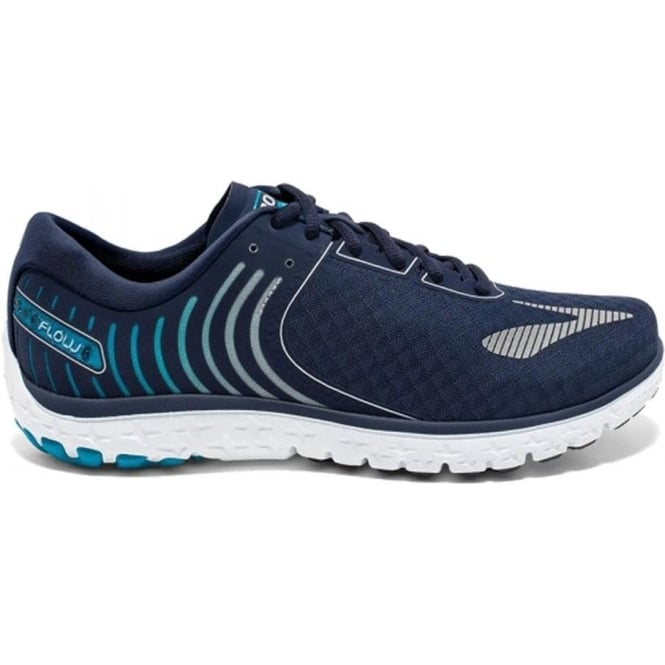 Brooks PureFlow 6 Mens D (STANDARD WIDTH) Road Running Shoes Peacoat/Methyl Blue/Silver