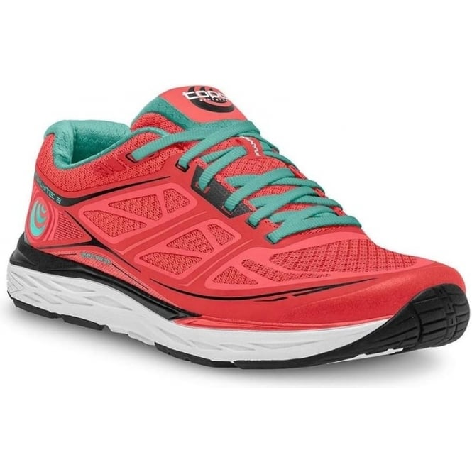 Topo Fli-Lyte 2 Womens Road Running Shoes Coral/Aqua