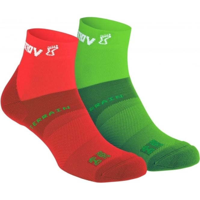All Terrain Sock Mid Twin Pack Green/Red