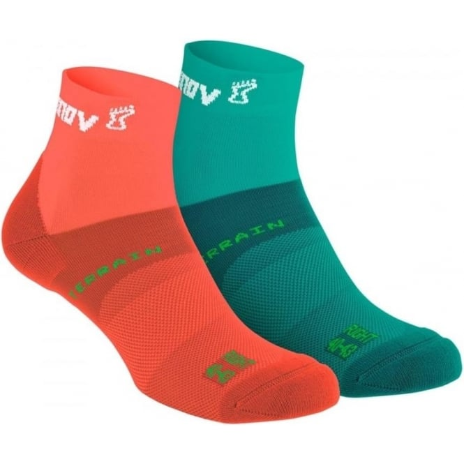 Inov8 All Terrain Sock Mid Twin Pack Coral/Teal