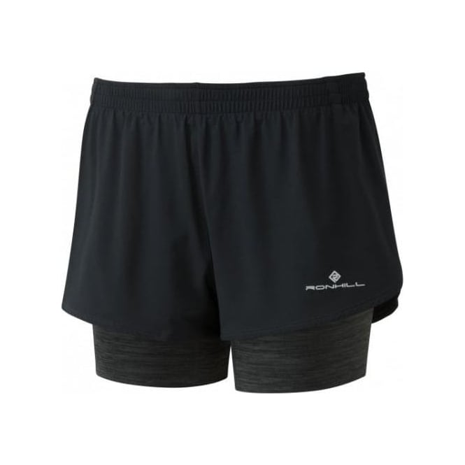 Womens Stride Twin Running Shorts Black/Charcoal Marl