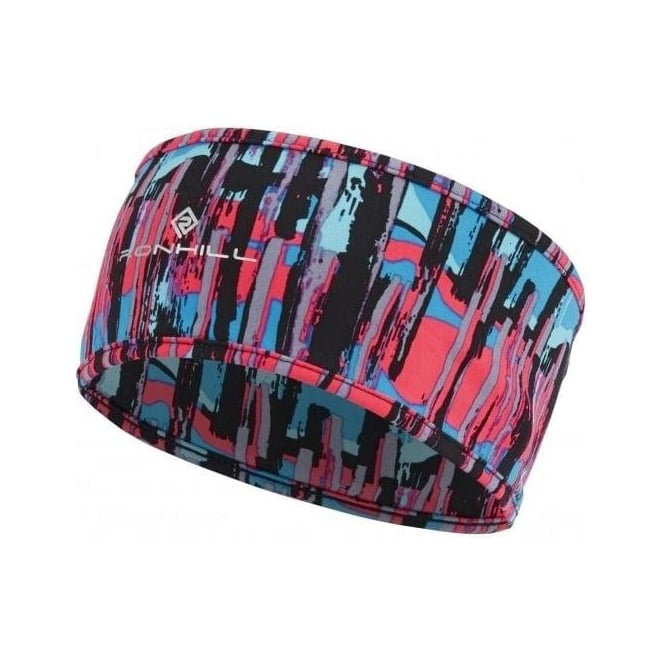 Ronhill Printed Running Headband Deep Cyan Paint
