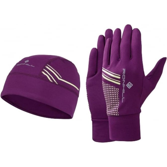 Running Beanie and Glove set Grape Juice/FYel