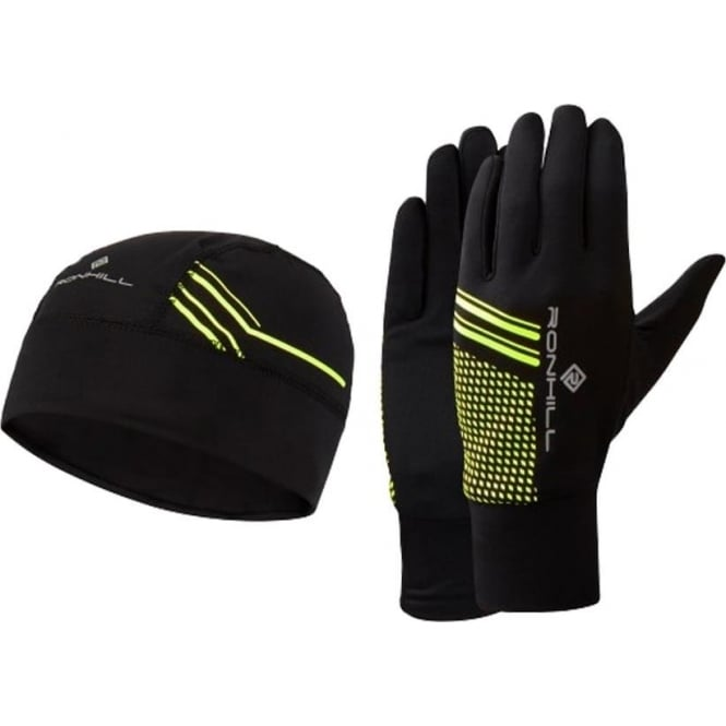 Running Beanie and Glove set Black/Fluo Yellow
