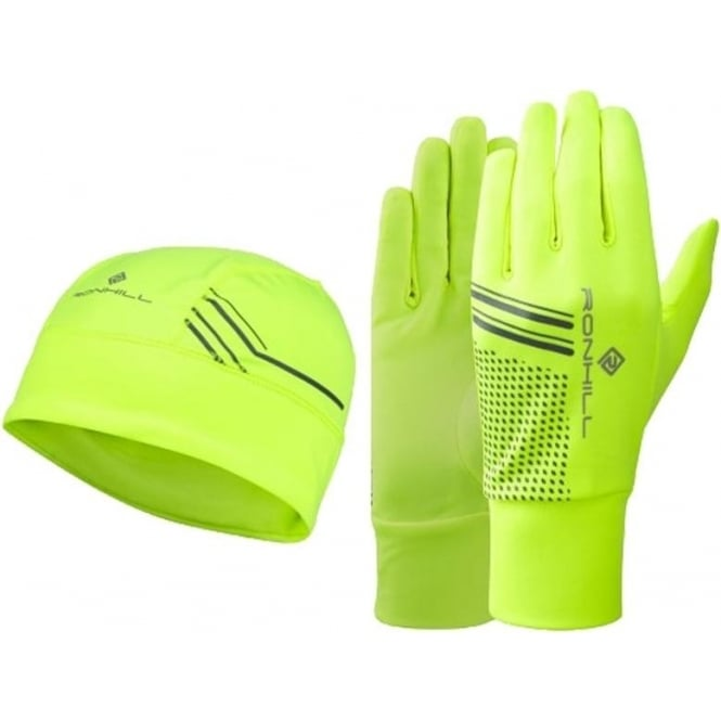 Running Beanie and Glove set Fluo Yellow/Black