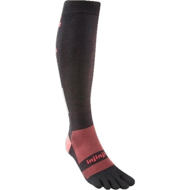 Injinji Socks Ultra Compression Over Calf Unisex Running Toe Socks - Black/Red