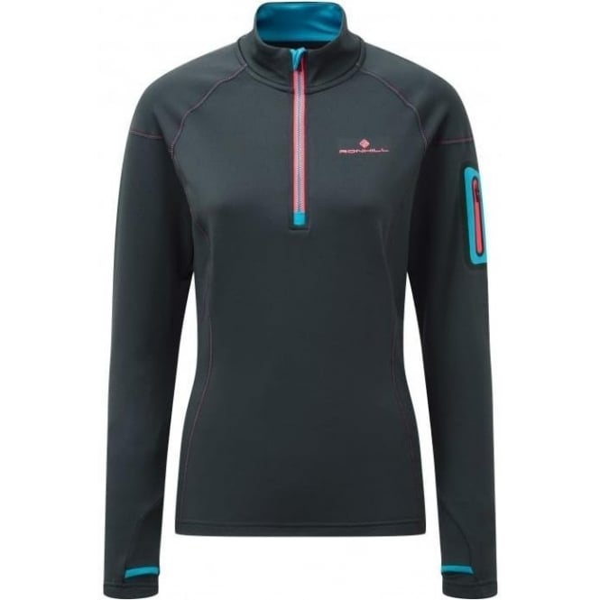 Ronhill Stride Winter 1/2 Zip Womens Running Long Sleeve Top Charcoal/Deep Cyan