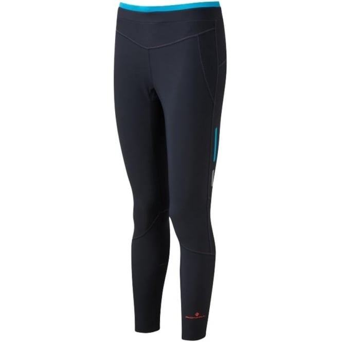 Ronhill Stride Winter Womens Running Tights Charcoal/Deep Cyan