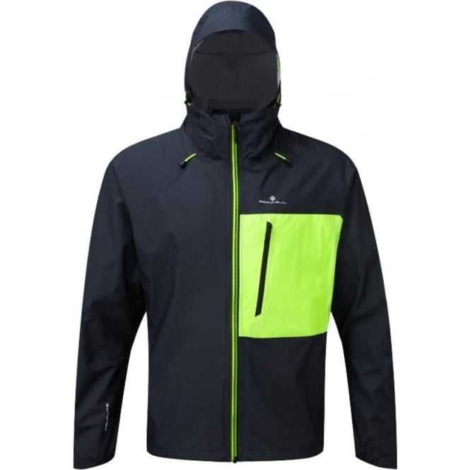 Ronhill Infinity Torrent Mens Running Jacket Charcoal/Fluo Yellow