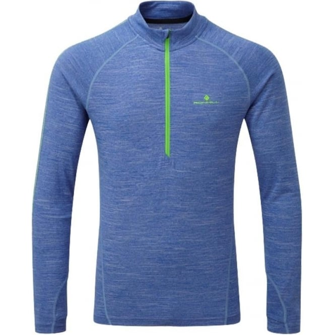 Stride Thermal 1/2 Zip Mens Long Sleeve Running T-Shirt Cobalt Marl/Gecko