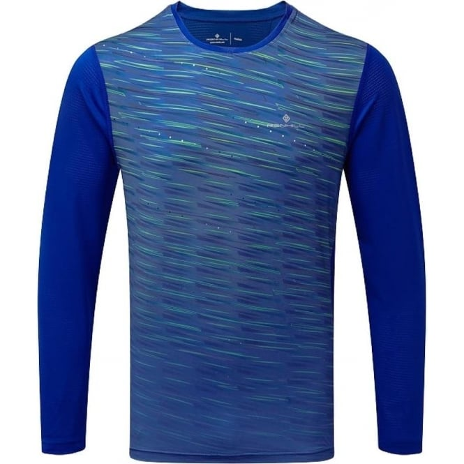 Ronhill Stride Mens Long Sleeved Running T-shirt Blue Cobalt/Gecko