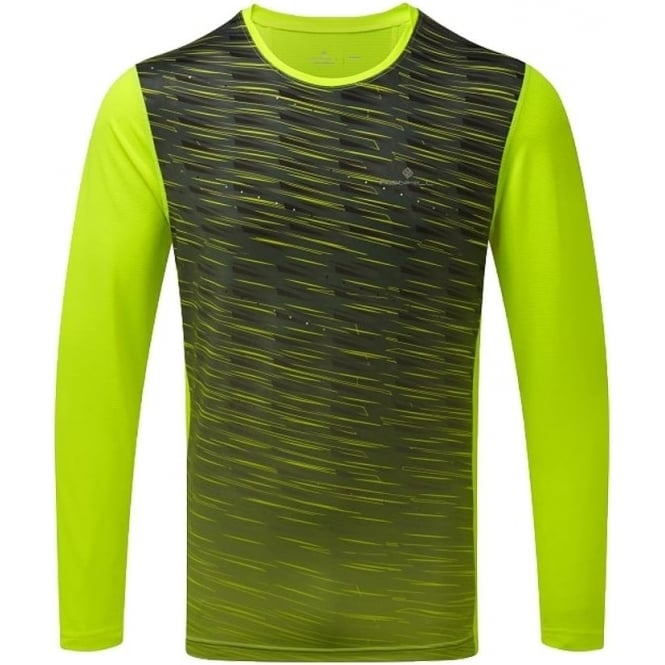 Ronhill Stride Mens Long Sleeved Running T-shirt Fluo Yellow/Charcoal