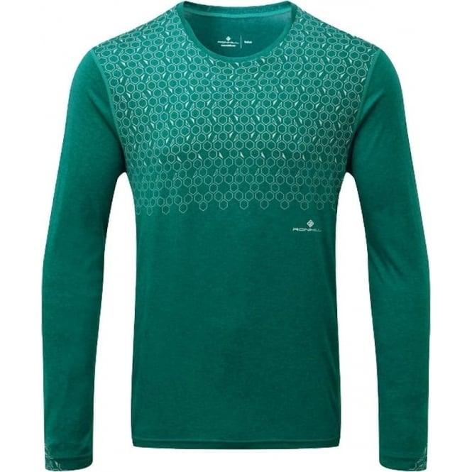 Ronhill Momentum Sirius Mens Long Sleeved Running T-shirt Spruce Green