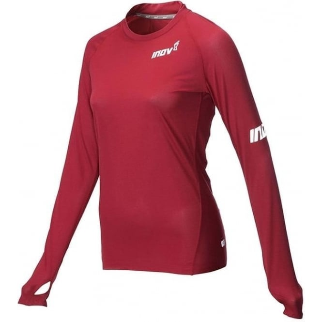 Inov8 AT/C Long Sleeve Womens Running Base Layer Dark Red