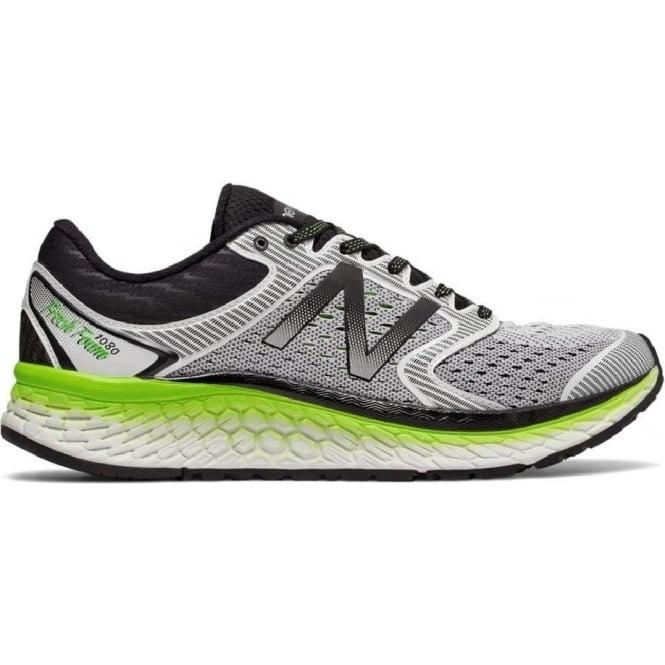 New Balance 1080 v7 Mens D STANDARD WIDTH Road Running Shoes White/Energy Lime
