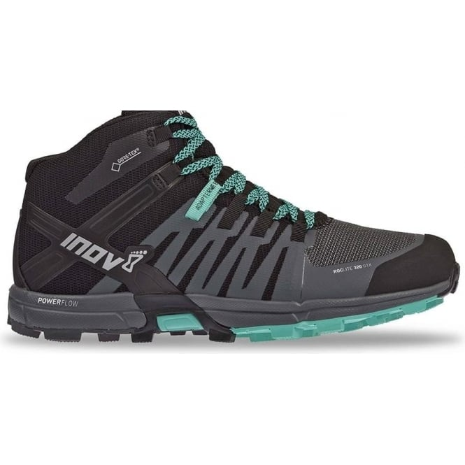Inov8 Roclite 320 GTX Womens STANDARD FIT Trail Running Shoes/Boots Black/Grey/Teal