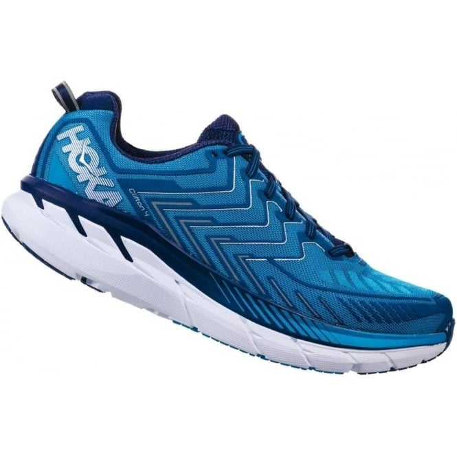 Hoka Clifton 4 Mens WIDE FITTING Road Running Shoes Diva Blue/True Blue
