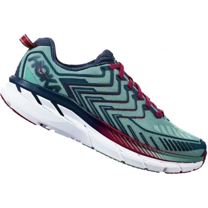 Hoka Clifton 4 Womens WIDE FITTING Road Running Shoes Aquifer/Vintage Indigo