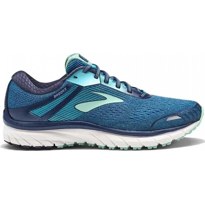 Brooks Adrenaline GTS 18 2E EXTRA WIDE Road Running Shoes Navy/Teal/Mint Womens