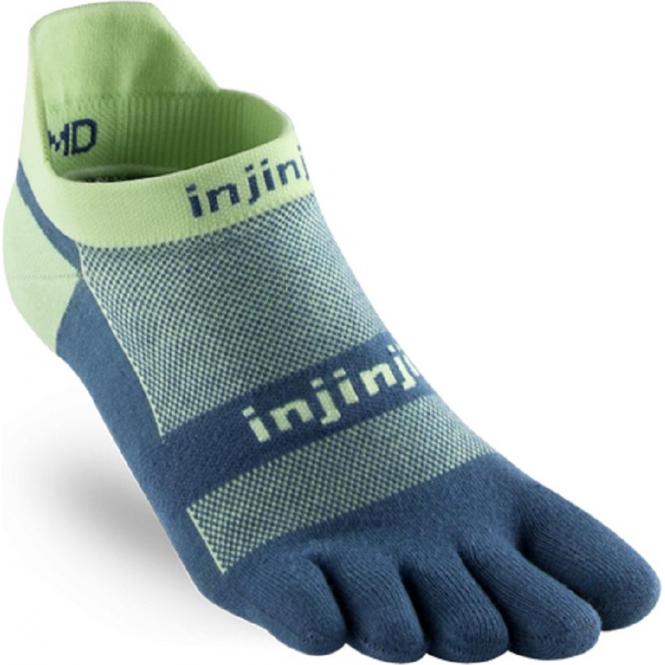 Injinji Socks Run Lightweight No Show Unisex Running Toe Socks Seafoam
