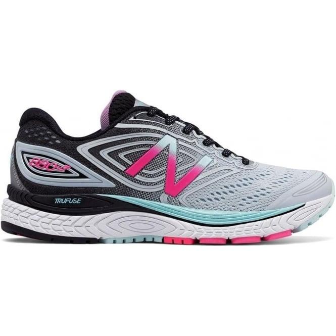 New Balance 880 v7 Womens B STANDARD WIDTH Road Running Shoes Light Porcelain Blue/Black/Alpha Pink